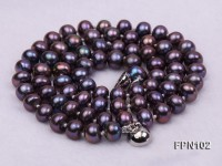 Classic 6-7mm AA Dark-purple Flat Cultured Freshwater Pearl Necklace