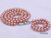 7-8mm AA Lavender Flat Freshwater Pearl Necklace and Bracelet Set