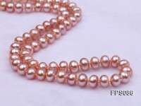 7-8mm AA Lavender Flat Freshwater Pearl Necklace and Stud Earrings Set