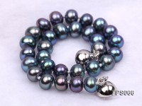 6-7mm AA Black Flat Freshwater Pearl Necklace, Bracelet and Stud Earrings Set