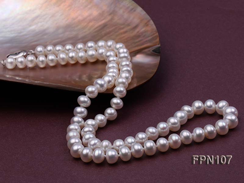 Classic 7-8mm AA White Flat Cultured Freshwater Pearl Necklace