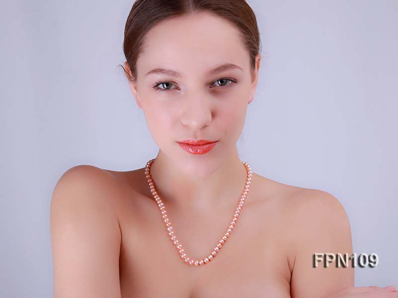 Classic 7-8mm AA Pink Flat Cultured Freshwater Pearl Necklace
