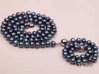 6-7mm AA Black Flat Freshwater Pearl Necklace and Bracelet Set