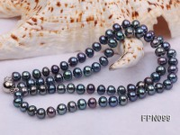 Classic 6-7mm AA Black Flat Cultured Freshwater Pearl Necklace