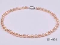 7-8mm Elliptical Pink  Freshwater Pearl Necklace