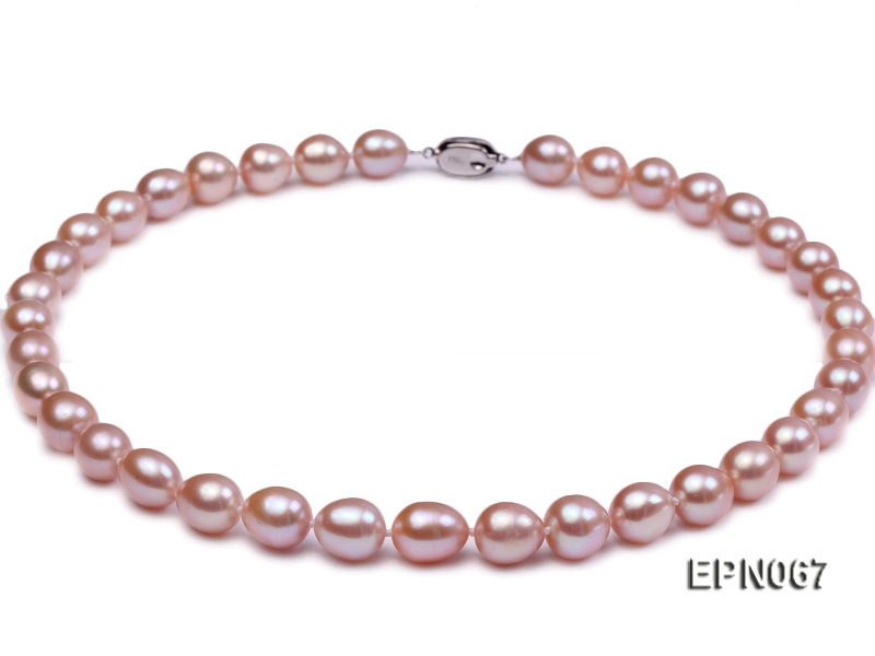 Classic 9-10mm Lavender Rice-shaped Cultured Freshwater Pearl Necklace