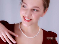 Classic 8-9mm AA White Flat Cultured Freshwater Pearl Necklace