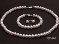 8-9mm AA White Flat Freshwater Pearl Necklace, Bracelet and Stud Earrings Set