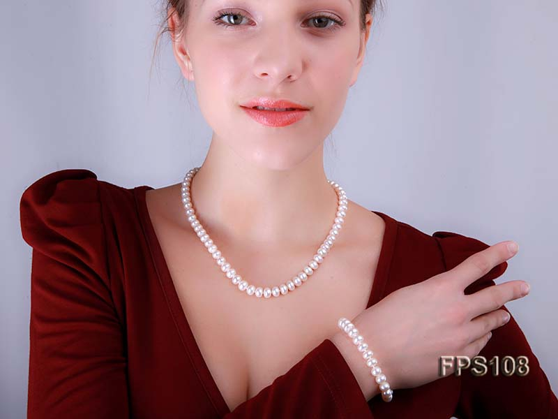 8-9mm AA White Flat Freshwater Pearl Necklace and Bracelet Set