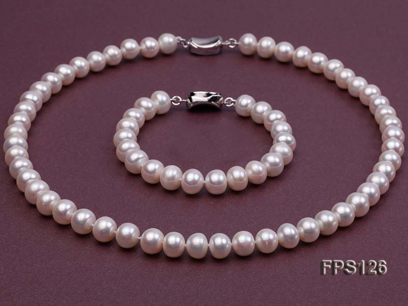 9-10mm AA White Flat Freshwater Pearl Necklace and Bracelet Set