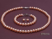 8-9mm AA Pink Flat Freshwater Pearl Necklace, Bracelet and Stud Earrings Set