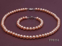 8-9mm AA Pink Flat Freshwater Pearl Necklace and Bracelet Set