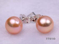 8-9mm AA Pink Flat Freshwater Pearl Necklace and Stud Earrings Set