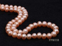 Classic 8-9mm Pink Flat Cultured Freshwater Pearl Necklace