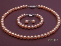 9-10mm AA Pink Flat Freshwater Pearl Necklace, Bracelet and Stud Earrings Set