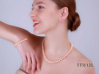 9-10mm AA Pink Flat Freshwater Pearl Necklace and Bracelet Set