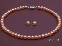 9-10mm AA Pink Flat Freshwater Pearl Necklace and Stud Earrings Set