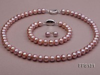 9-10mm AA Lavender Flat Freshwater Pearl Necklace, Bracelet and Stud Earrings Set