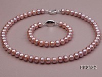 9-10mm AA Lavender Flat Freshwater Pearl Necklace and Bracelet Set
