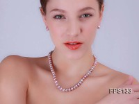 9-10mm AA Lavender Flat Freshwater Pearl Necklace and Stud Earrings Set