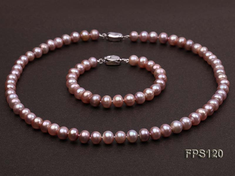 8-9mm AA Lavender Flat Freshwater Pearl Necklace and Bracelet Set