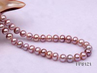 8-9mm AA Lavender Flat Freshwater Pearl Necklace and Stud Earrings Set