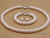 10-11mm AA White Flat Freshwater Pearl Necklace, Bracelet and Stud Earrings Set