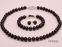 9-10mm AA Dark-coffee Flat Freshwater Pearl Necklace, Bracelet and Stud Earrings Set