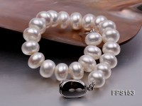 10-11mm AA White Flat Freshwater Pearl Necklace and Bracelet Set