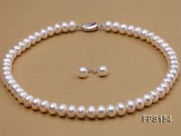 10-11mm AA White Flat Freshwater Pearl Necklace and Stud Earrings Set
