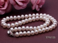 Classic 10-11mm White Flat Cultured Freshwater Pearl Necklace