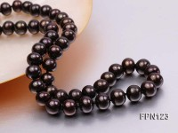 Classic 9-10mm  AA Dark-brown Flat Cultured Freshwater Pearl Necklace