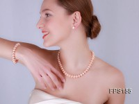 10-11mm AA Pink Flat Freshwater Pearl Necklace, Bracelet and Stud Earrings Set