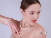 9-10mm AA White Flat Freshwater Pearl Necklace, Bracelet and Stud Earrings Set