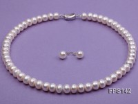 9-10mm AA White Flat Freshwater Pearl Necklace and Stud Earrings Set