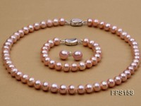 10-11mm AA Lavender Flat Freshwater Pearl Necklace, Bracelet and Stud Earrings Set