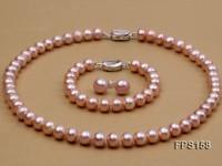 10-11mm AA Lavender Flat Freshwater Pearl Necklace, Bracelet and Stud Earrings Set