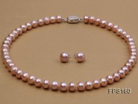 10-11mm AA Lavender Flat Freshwater Pearl Necklace and Stud Earrings Set