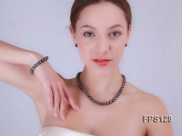 9-10mm AA Black Flat Freshwater Pearl Necklace, Bracelet and Stud Earrings Set