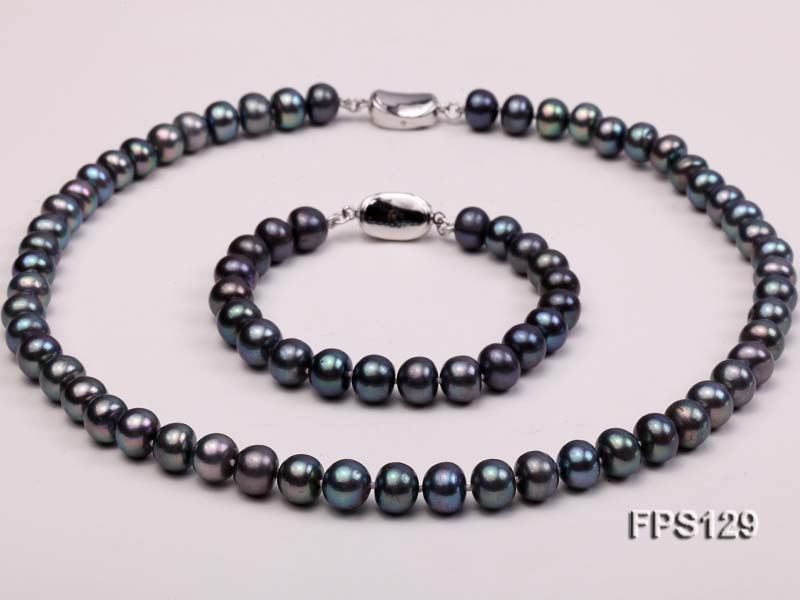 9-10mm AA Black Flat Freshwater Pearl Necklace and Bracelet Set
