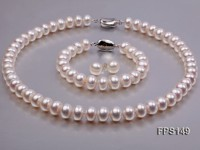11-12mm AA White Flat Freshwater Pearl Necklace, Bracelet and Stud Earrings Set
