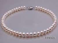 Classic 11-12mm AA White Flat Cultured Freshwater Pearl Necklace