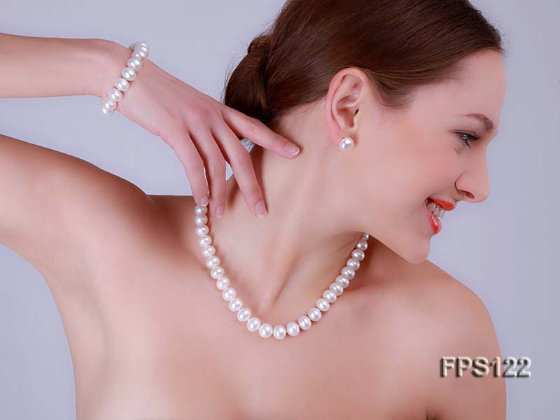 12-13mm AA White Flat Freshwater Pearl Necklace, Bracelet and Stud Earrings Set