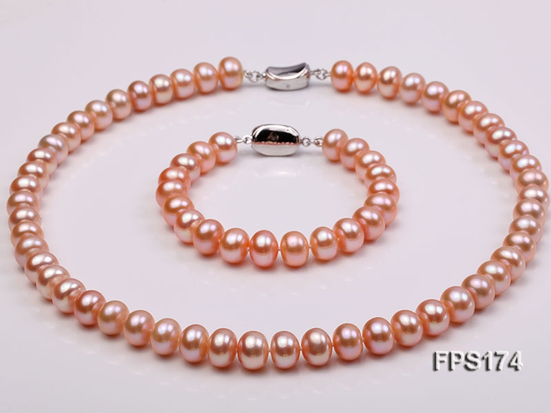 10-11mm AA Pink Flat Freshwater Pearl Necklace and Bracelet Set