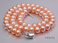 10-11mm AA Pink Flat Freshwater Pearl Necklace and Stud Earrings Set