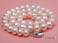 Classic 12-13mm AA White Flat Cultured Freshwater Pearl Necklace