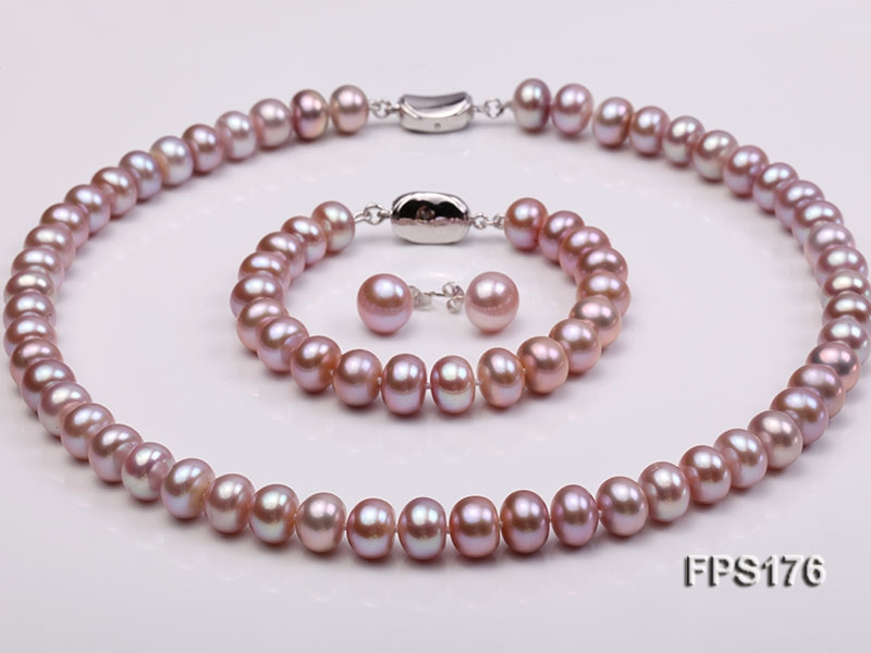 10-11mm AA Light-purple Flat Freshwater Pearl Necklace, Bracelet and Stud Earrings Set