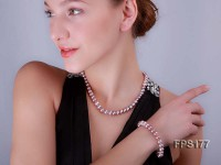 10-11mm AA Light-purple Flat Freshwater Pearl Necklace and Bracelet Set