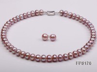 10-11mm AA Light-purple Flat Freshwater Pearl Necklace and Stud Earrings Set