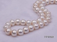 12-13mm AAA White Flat Freshwater Pearl Necklace, Bracelet and Stud Earrings Set
